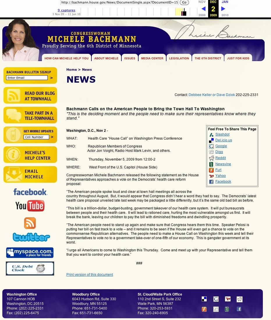 Michele Bachmann deleted press release