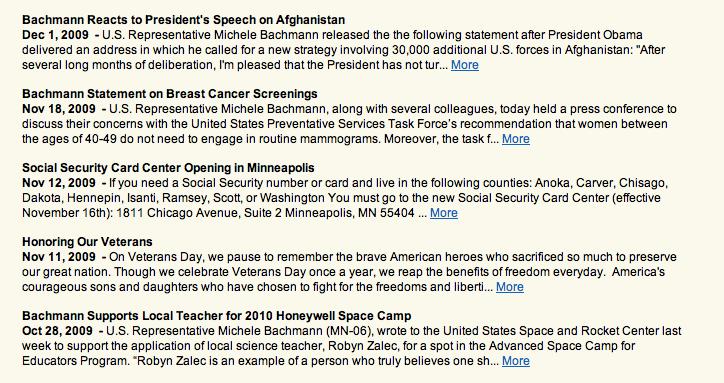 Michele Bachmann's live website